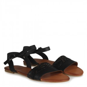 Hakiki Deri Sandalet Siyah Deri Baskı