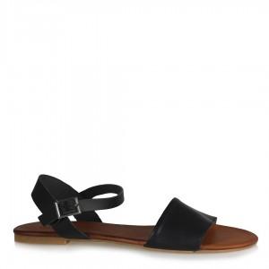 Yumuşak Hakiki Deri Bantlı Siyah  Sandalet