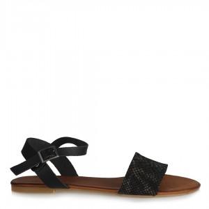 Sandalet Hakiki Deri  Siyah Bakır Desenli