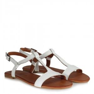 Beyaz Kemerli Hakiki Deri Sandalet