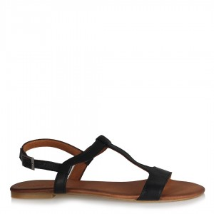 Hakiki Deri Sandalet Siyah Direk Kemerli