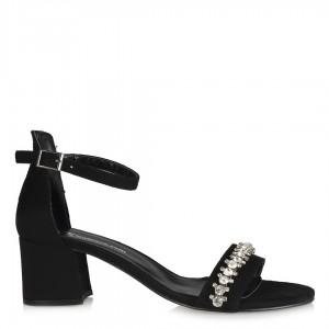 Siyah Süet Taşlı Model Ayakkabı Sandalet