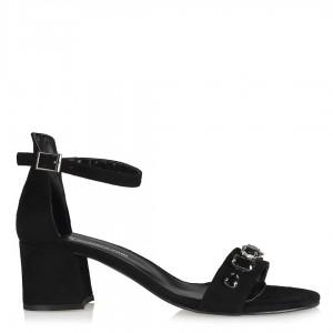 Az Topuklu Sandalet Siyah Taşlı