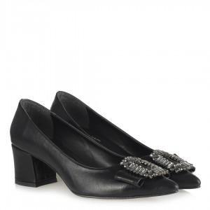 Siyah Kırışık Taşlı Tokalı  Stiletto
