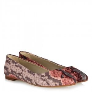 Babet Pembe Yılan Desenli Düz Ayakkabı