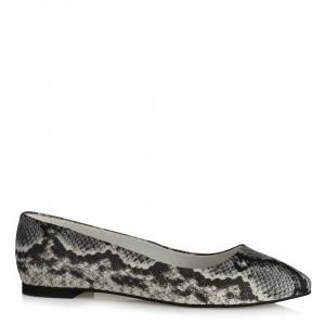 Babet Ayakkabı Siyah Beyaz Yılan Desenli