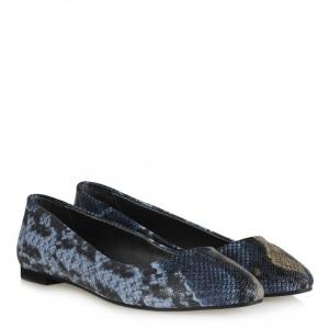 Mavi Yılan Desenli Babet Ayakkabı