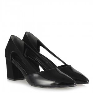 Stiletto Yanı Açık Topuklu Siyah Süet Rugan
