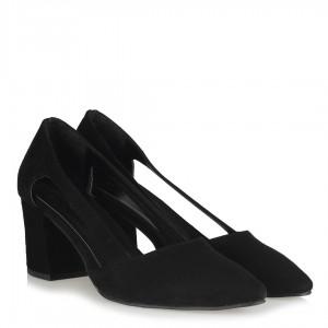 Stiletto Yanı Açık Topuklu Siyah Süet