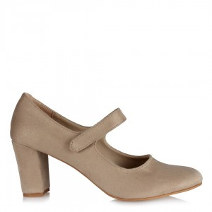 Vizon Süet Cırtlı Kemerli Topuklu Ayakkabı