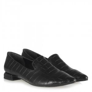 Loafer Siyah Mat Crocodile Ayakkabı Sivri Burun