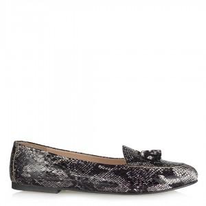 Babet Ayakkabı Loafer Siyah Beyaz Yılan Hakiki Deri