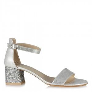 Ayakkabı Az Topuklu Lame Yaldızlı Cam Kırığı Topuklu