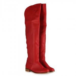 Dizüstü Binici Kadın Çizme Kırmızı Mat