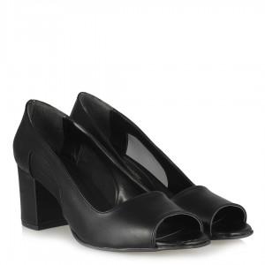 Topuklu Ayakkabı Siyah Tül Detaylı