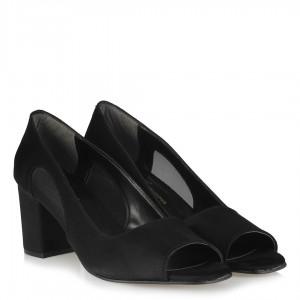 Topuklu Ayakkabı Siyah Süet Tül Detaylı
