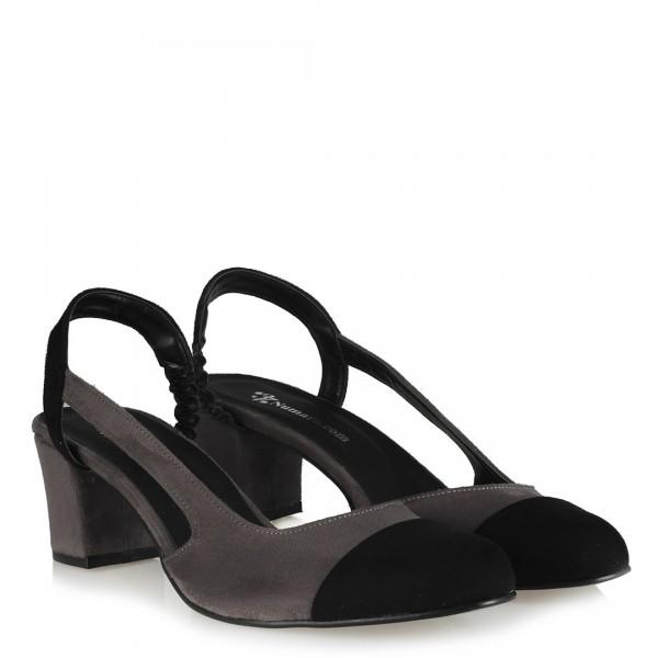 Gri Siyah Süet Arkası Açık Topuklu Ayakkabı