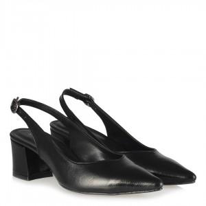 Kalın Topuklu Stiletto Arkası Açık Siyah Kırışık