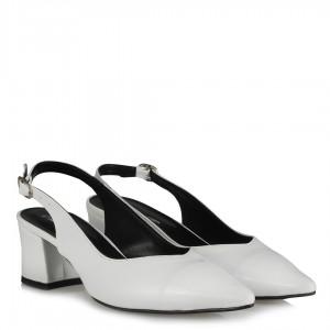 Beyaz Stiletto Arkası Açık Kalın Topuklu