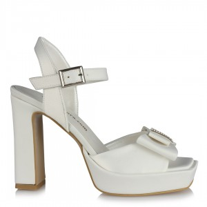 Gelinlik Ayakkabısı Kalın Topuklu Fiyonklu