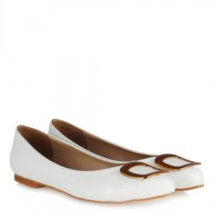 Babet Ayakkabı Beyaz Metalik Tokalı