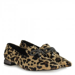 Loafer Leopar Desenli Tokalı Düz Ayakkabı
