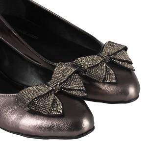 Fiyonklu Taşlı Babet Ayakkabı Platin