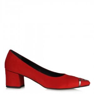 Kırmızı Süet Metalik Taşlı  Stiletto