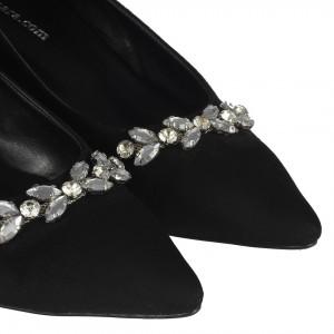 Gümüş Taşlı Tokalı Kalın Topuklu Siyah Stiletto
