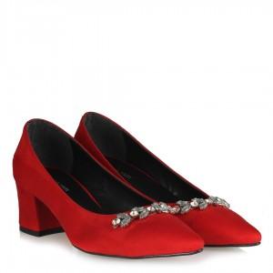 Kırmızı Süet Taşlı Kalın Topuklu Stiletto