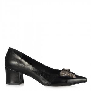 Stiletto Ayakkabı Siyah Kırışık Fiyonk Taşlı Tokalı