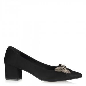 Stiletto Siyah Süet  Fiyonk Tokalı Ayakkabı