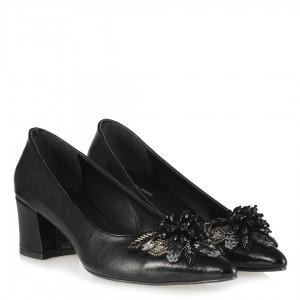 Stiletto Siyah Kırışık Melek Tokalı Ayakkabı