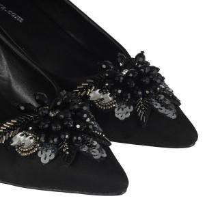 Stiletto Siyah Süet Taşlı Tasarım Tokalı Ayakkabı