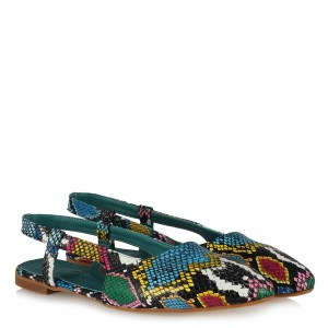 Renkli Yılan Babet Ayakkabı Arkası Açık
