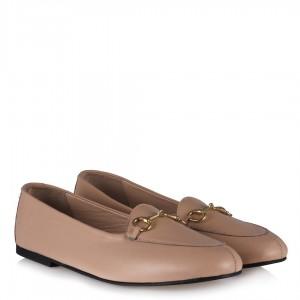 Pudra Deri Tokalı Babet Ayakkabı