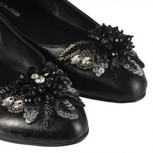 Siyah Babet Ayakkabı Melek Toka