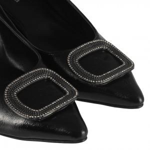 Siyah Kare Tokalı Kırışık Rugan Stiletto