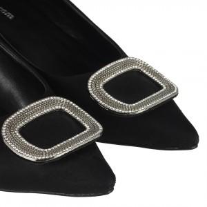 Stiletto Ayakkabı Siyah Süet Tokalı