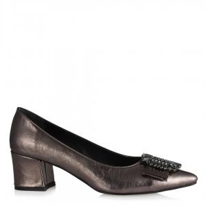 Platin Rengi Taşlı Stiletto Ayakkabı