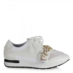 Spor Ayakkabı Beyaz Yaprak Taşlı