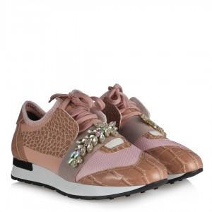 Pudra Yaprak Taşlı Spor Ayakkabı