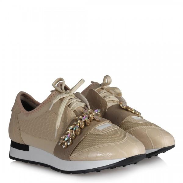 Spor Ayakkabı Bej Rengi Taşlı