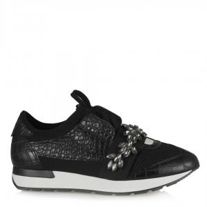 Siyah Yaprak Tokalı Spor Ayakkabı