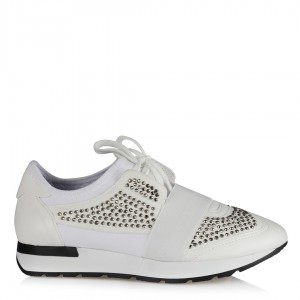 Spor Ayakkabı Beyaz Taşlı Streç