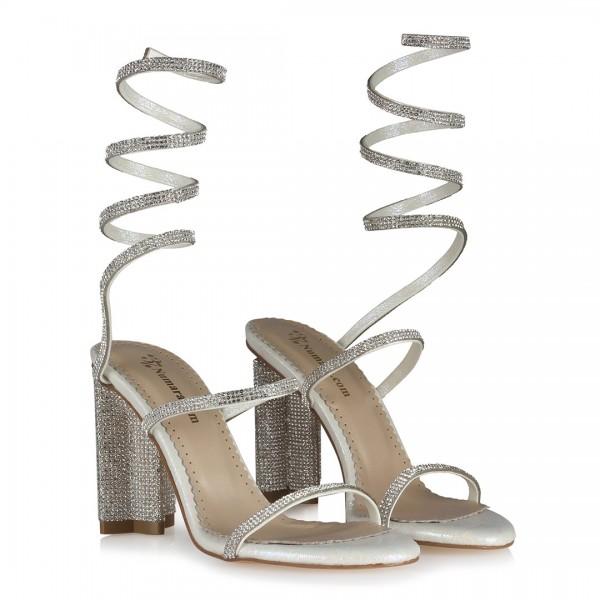 Gelin Ayakkabısı Tasarım Taşlı Bilekli Topuklu Model