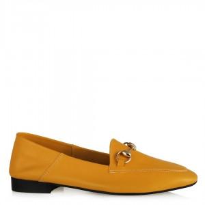 Hardal Rengi Hakiki Deri Zincirli Loafer Ayakkabı