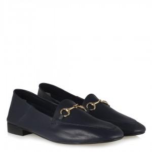 Loafer Ayakkabı Lacivert Hakiki Deri Zincirli
