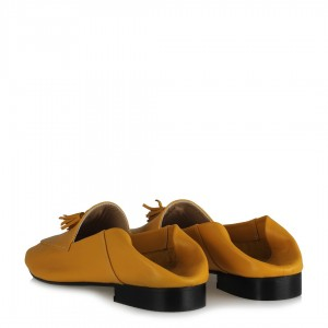 Hardal Loafer Ayakkabı Hakiki Deri Püsküllü