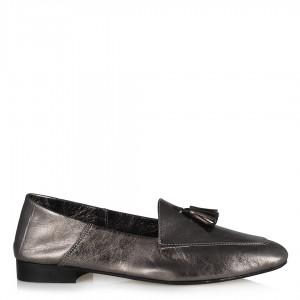 Hakiki Deri Püsküllü Platin Loafer Ayakkabı